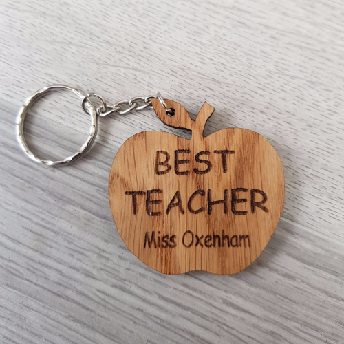 Teacher Apple Keyring, 'Best Teacher'